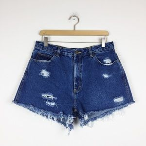 Vintage high waisted cutoff jean shorts distressed